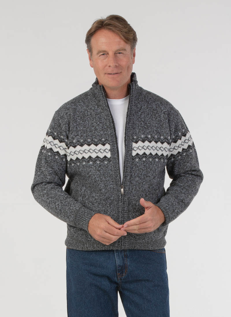 Homme jolliman Jacquard Full Zip Polaire Doublé Cardigan Hiver Zipper